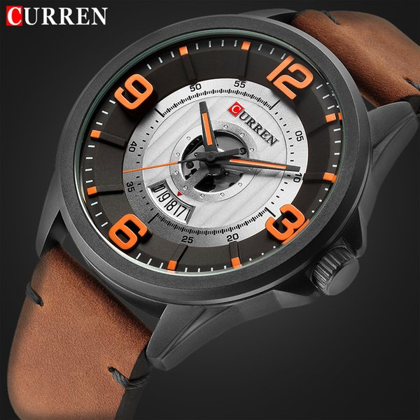 curren luxury watch men fashion casual sport wristwatches mens leather business quartz watches male date clock relogio masculino, Slivery;brown