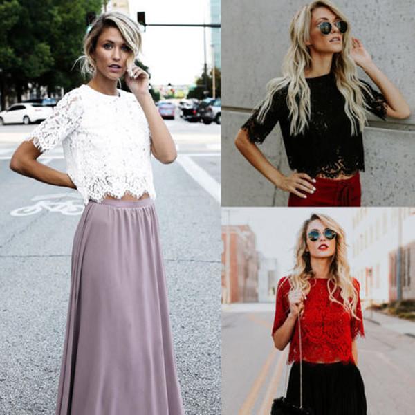 Yeni stil Moda Yaz kadın Yarı Yarım Kollu Nakış Çiçek Dantel Tığ Katı Bayanlar T-Shirt Üst