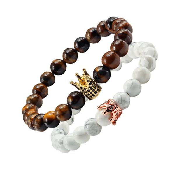 Mode Natürliche Tigerauge Stein Crown Elastische Perlen Armbänder Armreifen Für Frauen Yoga Gebet Abstand Armband Schmuck Geschenk Männer