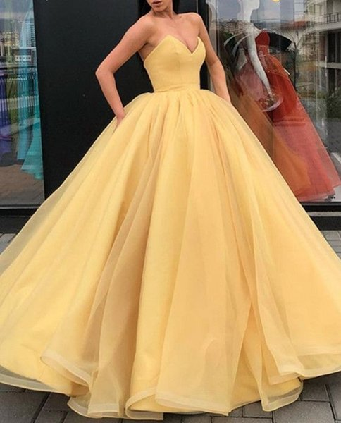 Yellow Ball Gown Prom Gowns Evening Dresses Strapless Open Back Draped Lace  Up Graduation Dresses 6th Grade For Sweet Ball Gown Prom Dresses Best