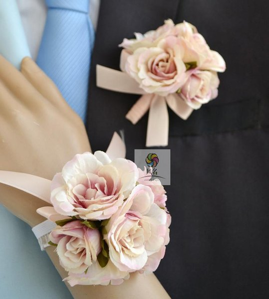 Handmade Wedding Corsages Groom Boutonniere Bride Bridesmaid Mom Hand Wrist Flower Artificial Flowers Prom Suit Corsage Flower