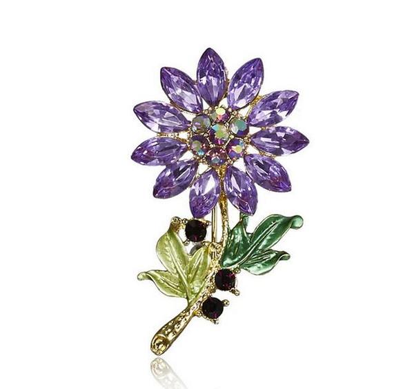 Fashion Wedding Plant flower Brooch Pins Rhinestone Crystal brooch Scarf Pin Vintage brooches Women Jewelry
