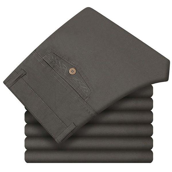 Men's Clothing Casual Pants 100% Pure Cotton Man Business Formal Trousers Chinos Pants Pantalon Black Grey Plus Size
