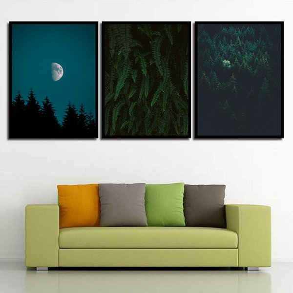 Poster Nursery Nordic Kids Bedroom Decoration HD Tree Landscape Wall Art Night View Canvas Prints For Baby Room Painting Picture