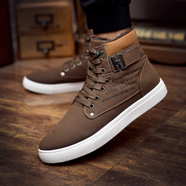 top popular 6color Men Shoes Sapatos Tenis Masculino Male Fashion Autumn Winter Leather Boots for Man Casual High Top Canvas Men Shoes 2020