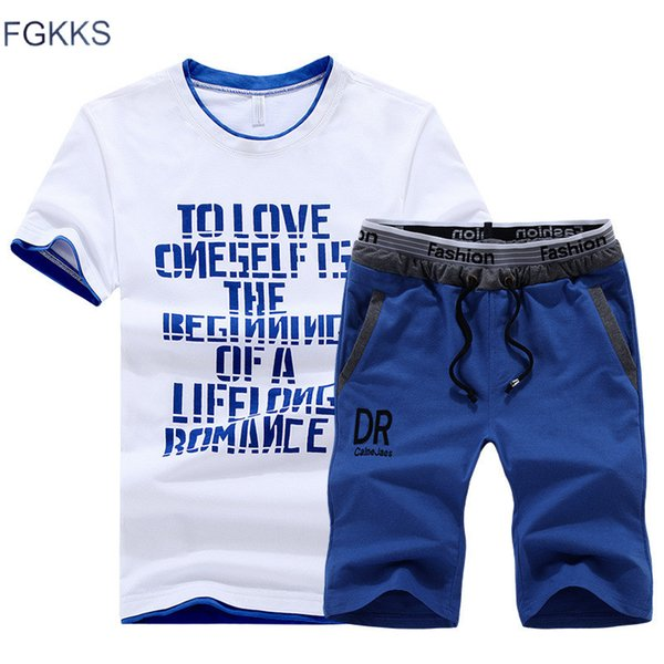 FGKKS Mens Fitness Tracksuit Set Summer Casual Sporting Suit Fashio Men Shorts Sets Casual Outwear Short-Sleeved Shirt +Shorts
