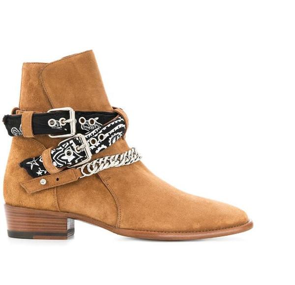 2018 Novo luxo Handmade High Top Homens personalizado Tira No Tornozelo De Couro De Camurça Harry wyatt Botas cunha slp moda homens botas jeans