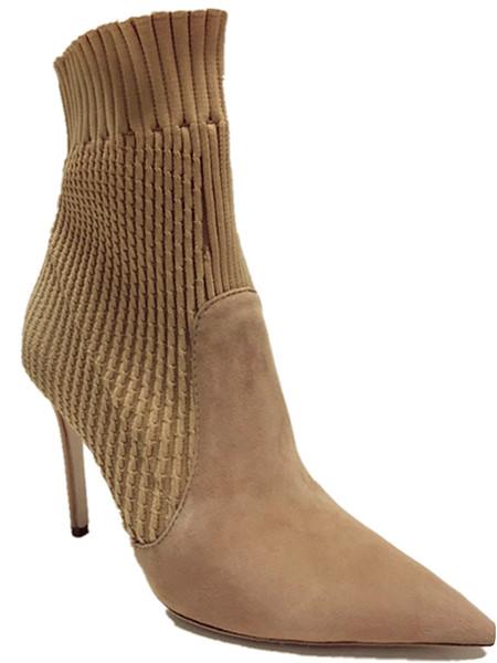 Sapatos Bootie Femme Bottes Acheter Mode Bottines Respirant Bottillons Femmes De Bout Bout Bottes Bottine Tricotées Élastique Épais Talons Beige Noir 8Pn0wOkX
