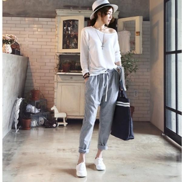 Women Spring Elastic Waist Trousers Stripe New Fashion Casual Loose Palazzo Long Harem Grey Pants Trousers