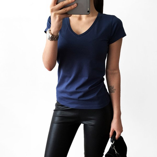 High Quality V-Neck Candy Color Cotton Basic T -Shirt Women Plain Simple T Shirt for Women Short Sleeve Female Tops