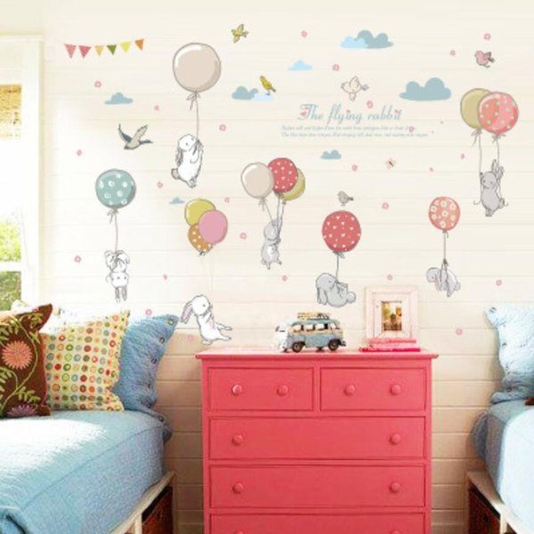 Cute Cartoon Rabbit Colorful Balloons Wall Stickers Baby Boy Girl Bedroom Decor Sticker Room Furniture Wallpaper Stikers