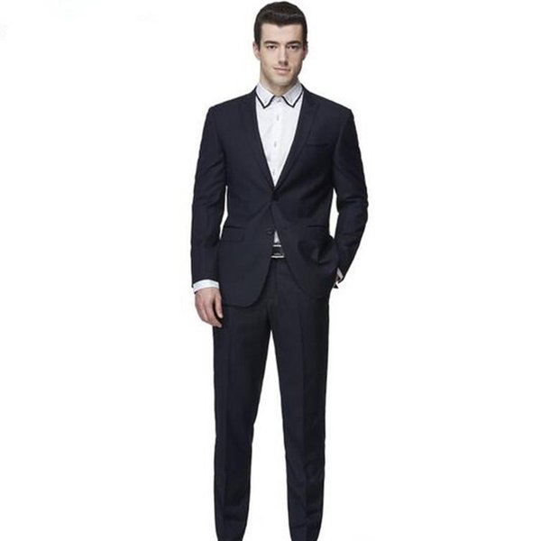 Pure blue suit men's suits do manual work is delicate decent long-sleeved jacket and pants for the groom's best man suit custom integrati