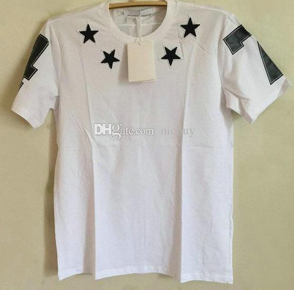 2018 diseñador de moda de primavera marca de lujo camiseta de verano para los hombres que se reúnen estrella negro 7 4 carta de algodón de impresión camiseta casual tops camisetas
