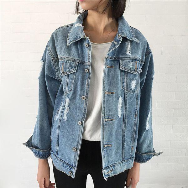 Chaqueta de mezclilla de las mujeres Vintage de manga larga suelta Chaquetas básicas Hole Button Blue Jeans Coat Casual Girls Outwear Ropa de otoño Tops