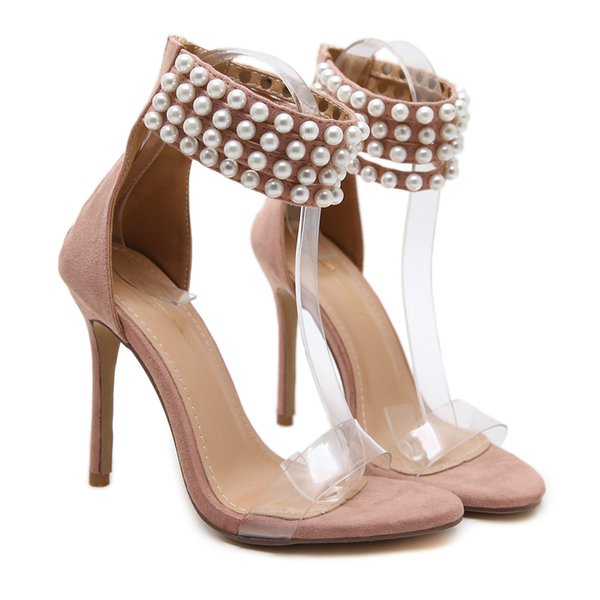 New Fashionl Women High Heel Pumps open Toe Luxury pearl Catwalk show style crystal sandals Sexy Word buckle Lady party shoes Plus Size