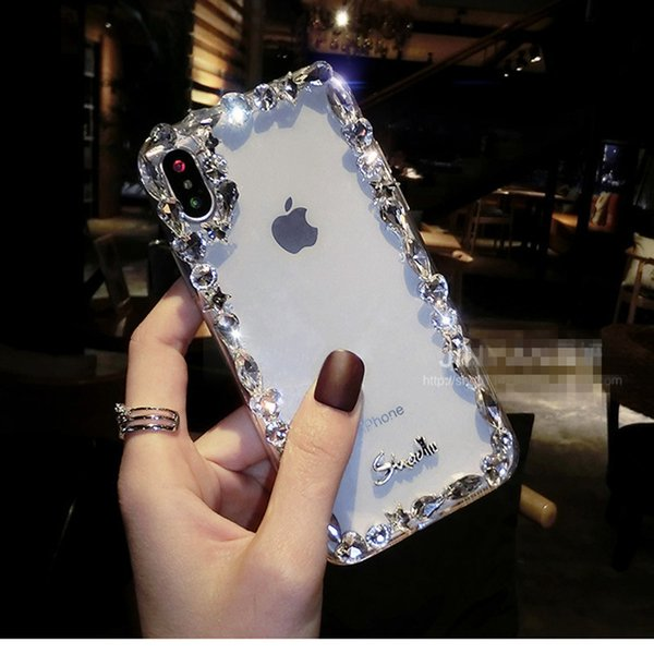 Luxury Diamond Phone Case For iPhone X Jewelry Back cover For Christmas Party Gift Handmade Case For iPhone 7 8 6 6s Plus Shell