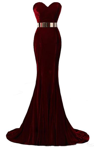 2019 Newest Fashion Beaded Prom Dresses Sweetheart Jewel Mermaid Evening Dresses Velvet Burgundy Metal Belt Formal Evening Gowns Custom Made