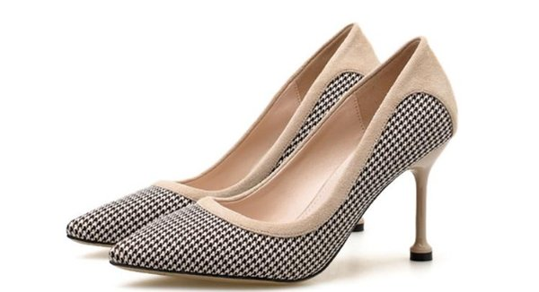 Livre enviar 2018 outono azul patchwork salto alto apontou final das mulheres sapatos único novo estilo de sapatos de salto 8 cm, 5 cm
