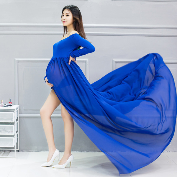 maternity gown photography prop Maternity Dress Pregnant Women Cloth New Mom Long Floor-Length DressesChiffon Mothers Day