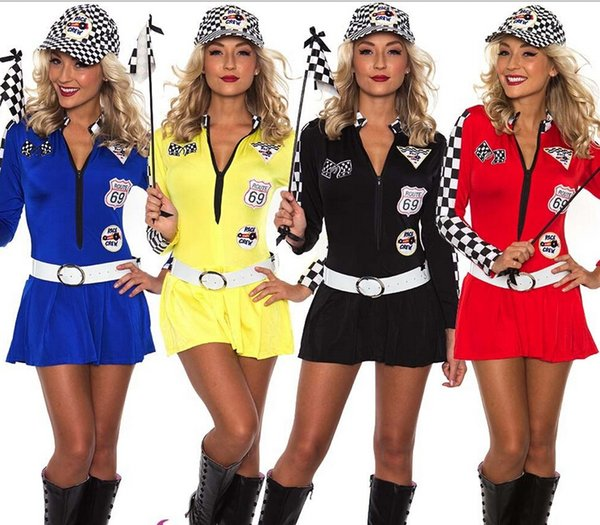 Livraison gratuite Sexy Miss Indy Super Voiture Racer Racing Sport Pilote Fille Grille Prix Fantaisie Costume S M L XL 2XL 3XL