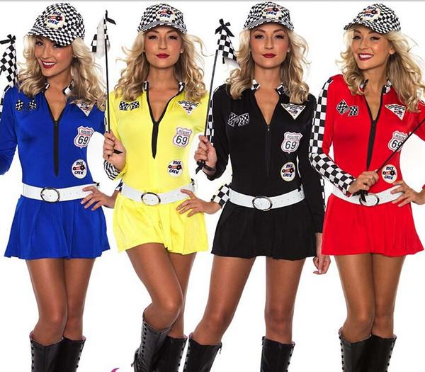 Frete grátis Sexy Senhorita Indy Super Car Racer Corrida Esporte Motorista Grid Menina Prix Fantasia Traje S M L XL 2XL 3XL