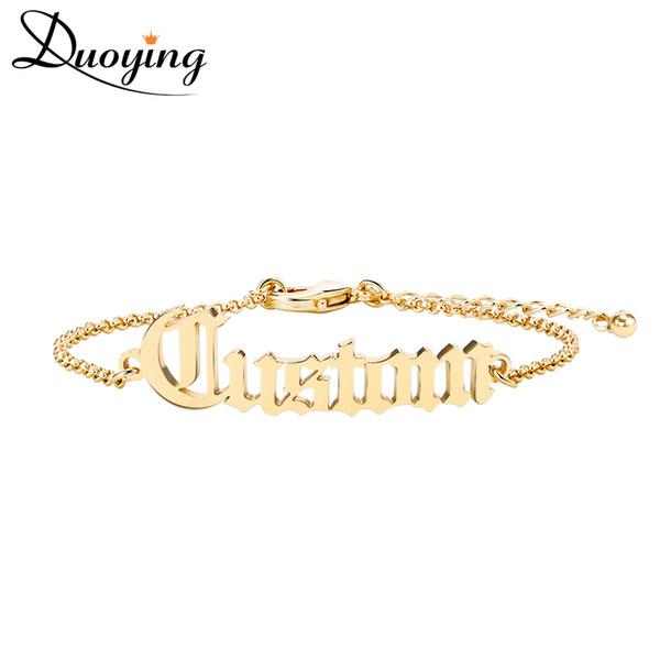 Duoying взрослый Старый Английский резки имя браслет персонализировать золотой браслет лучший друг лакомство ювелирные изделия для женщин Etsy мода