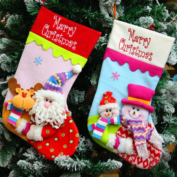 Embroidered Christmas Stockings.Santa Stocking For Christmas Decoration Cute Snowman Sock For Christmas Gift Xmas Sacks Pendant Embroidered Christmas Stockings Christmas Ornaments To