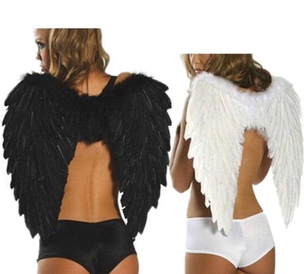 60*80cm Angel Devil Feather Wings Photo Prop Halloween Fancy Party Costume Props Black White Photography Clothes Costume Supplies FFA846