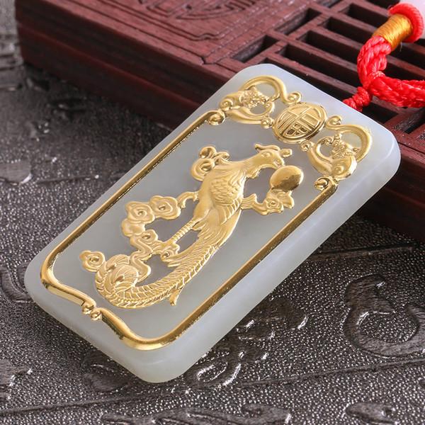 2018 Natural HeTian Yu 100% Puro Sólido 24 k Ouro Phoenix Amuleto Da Sorte Pingente + Colar + Certificado de Jóias Finas 8615