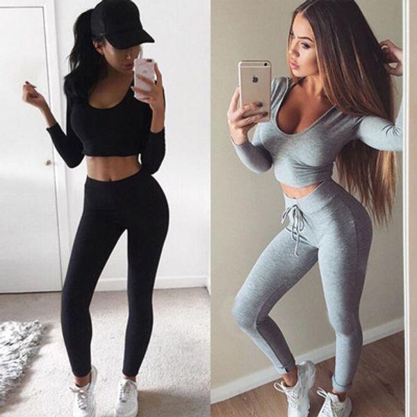 Kadınlar Slim Fit Seksi Vücut Eğrisi Eşofman Scoop Boyun Kısa Mahsul Kazak Tozluk Pantolon 2 adet / takım Spor Suit