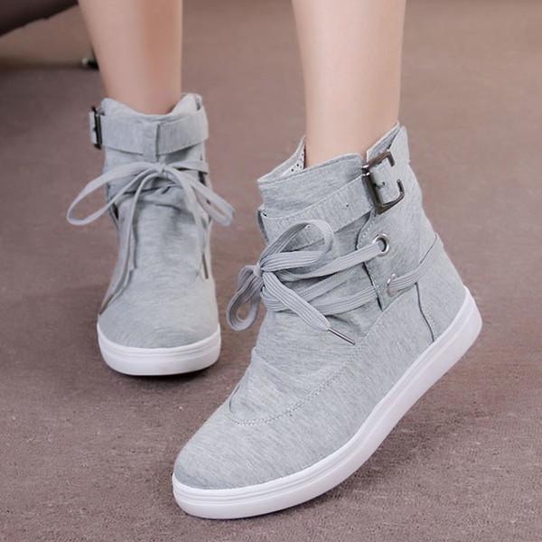0732963ed967d Wholesale- Women's Ankle Boots Round Toe Platform Casual High-top Canvas  Shoes Woman Lace