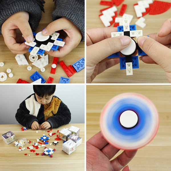 top popular Fidget Spinner Building Bricks Block Puzzle Toys DIY Fidget Toys Hand Spinners Anti-anxiety Educational Learning Toys for Kids 2019