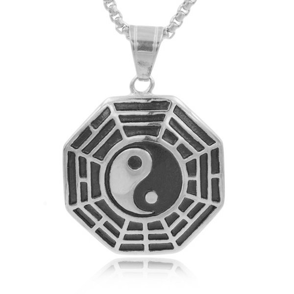 CHIMDOU Chinese Traditional Symbol Tai Chi Necklaces Men Women Bagua Yin Yang Pendant Necklaces Jewelry Stainless Steel