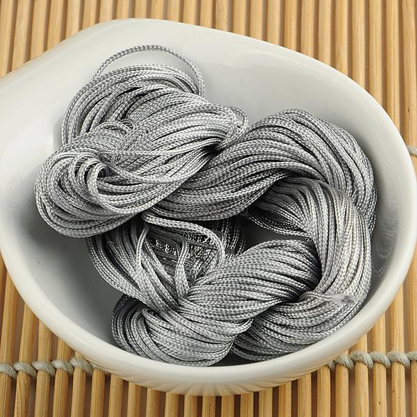 1mm Macrame Rattail Chinese Knotting Nylon Beading Grey Jewelry Cord Thread EQB180