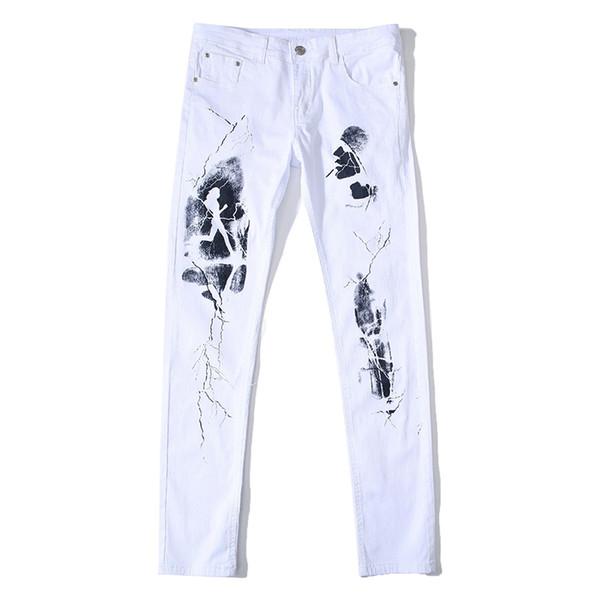 Denim Pattern Jeans Mens Pants Skinny Jeans Elastic Trousers Fashion Street Designer Men Jeans Plus Casual Pants