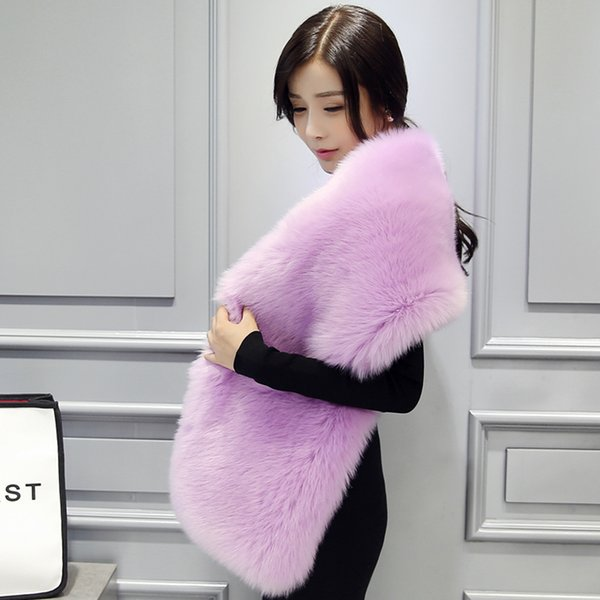 2016 New fur cape fur collar design long scarf muffler female fox cape scarf cloak coat