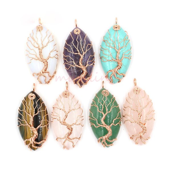 Nicely Pendants Necklace Chain Horse Eye Tree of Life Jewelry For Women Charms Bohemian Healing Chakra Wicca Witch Amulet Fashion Jewelry