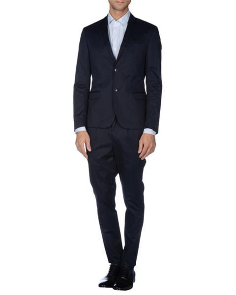 custom made! Classic double button navy blue lapel business men's suit suit suitable for wedding groom groomsmen dress(Jacket+Pants+Vest)