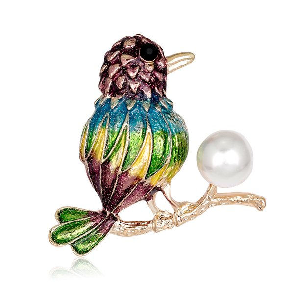 Pin Crystal Jewelry Diamond Brooch Spot Wholesale Hand-painted Oil Animal Corsage Bird Fashion Brooch Female Jewelry Temperament Women