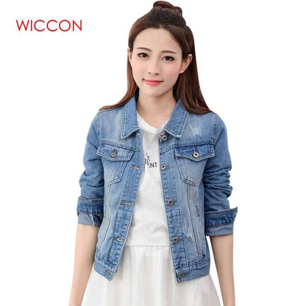 Marca Spirng Otoño Nueva Chaqueta de Mezclilla Para Mujer Moda Casual Jeans Vintage Ropa Chaqueta Mujeres Patchwork Solo Abrigo Breasted