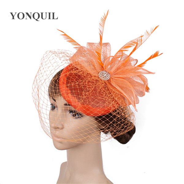 New fashion bridal cover face veils headwear orange fascinators womens wedding hats headbands ladies party feathers accessories SYF445