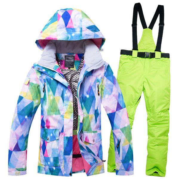 Ski Suit Women Snowboard Jackets Mountain Ski Suit Skiing Waterproof Windproof Thermal Female Snowboarding Jackets Pants