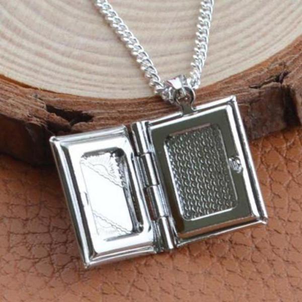 10Pcs/lot Women Men 925 Sterling Silver Book Box Photo Locket Pendant Necklace Silver Metal Alloy Photo Frame Pendant Jewelry
