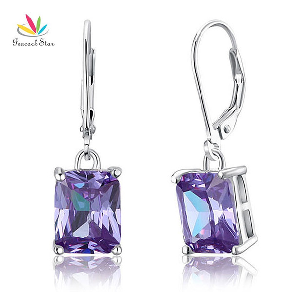wholesale Solid 925 Sterling Silver Dangle Fashion / Bridesmaid Earrings 4 Carat Purple Jewelry CFE8037