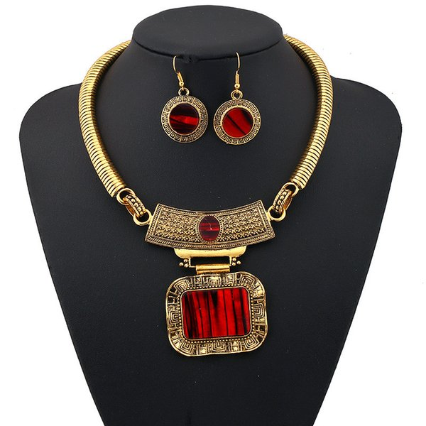 Newest Vintage Flower Jewelry Sets Ethnic Gold Plated Statement Behomian Simple Ethnic Maxi Geometry Silver Color Gem Choker Necklace Women