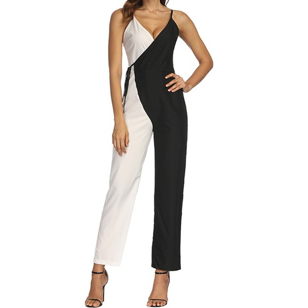 Elegant Cami Jumpsuit Women Sexy V Neck Wide Leg Contrast color Jumpsuits 2018 Sashes Sleeveless Jumpsuit female overalls