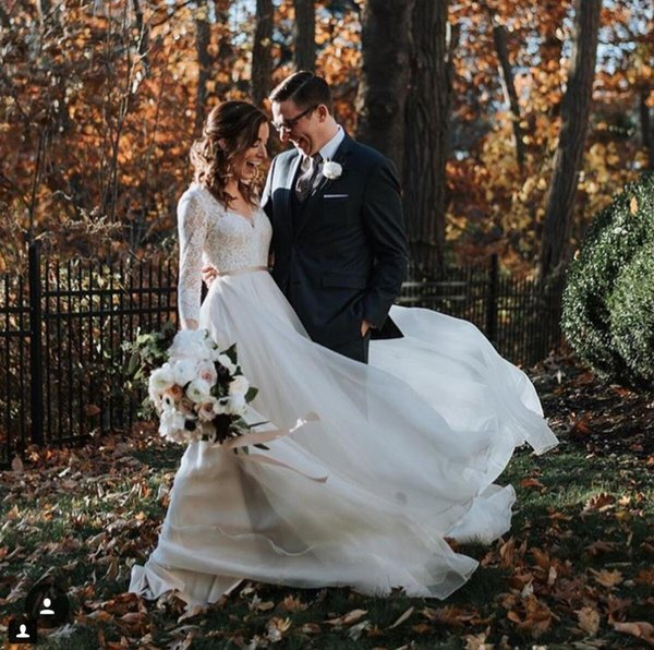 Lace Wedding Dress A Line V Neck Long Sleeve Belt Chiffon Sweep Train 2019 Garden Beach Boho Vestido de novia Wedding Bridal Dress For Bride