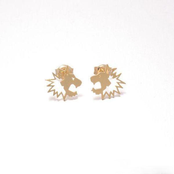 Novelties Boucle D'Oreille Stud Earrings Fresh Lovely Simple Pull Lion Head Animal Ear Female Jewelry Accessories