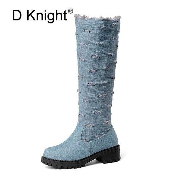 f3fed88ea82 Plus Size 52 Winter Knee-High Boots For Women Fashion Round Toe Med Heels  Booties Black Blue Denim Lady Casual Boots Shoes Woman