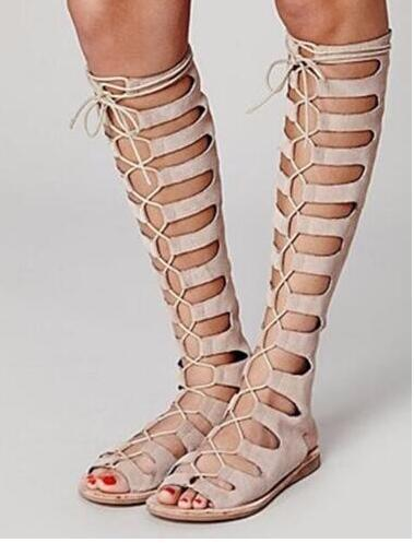 Hot Selling Spring Summer Knee High Gladiator Sandals Peep Toe Cut-outs Lace Up Boots Nude/black/brown Flat Shoes Knee Boots